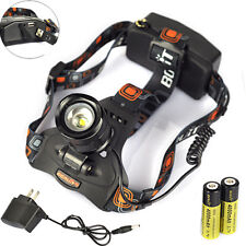 BORUIT 3000LM  XM-L2 LED Headlight Headlamp Head Torch Lamp 18650+AC/USB Charger