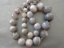 Grey Striped Agate Faceted Round Graduated Beads 36pcs