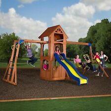 Backyard Discovery Parkway Wooden Swing Set Playground Outdoor Cedar Slide Play