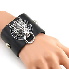 Gothic Mens Boy Punk Rock Dragon PU Leather Cuff Bracelet Bangle Wristband New