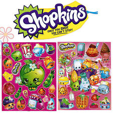 Shopkins Stickers Set 2 Sheets Vinyl Plastic Decal Laser individually Cut Images