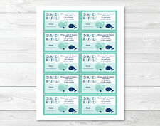 Little Blue Whale Nautical Printable Baby Shower Diaper Raffle Tickets