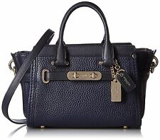 COACH SWAGGER 20 IN PEBBLE LEATHER Light Gold Navy