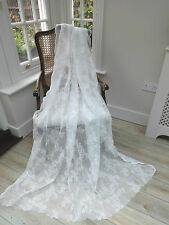 "LAST FEW!  BEAUTIFUL 58""X72""NEW FRENCH COTTON WHITE LACE/NET CURTAINS/PANELS"