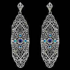 Blue Sapphire & Opal 925 Solid Genuine Sterling Silver Earrings,F7-7