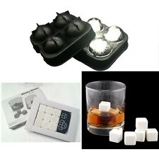 9 White Whiskey Whisky Scotch Soapstone Stone Ice Cubes Rocks 4 Ball Mold Maker