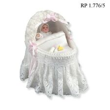 Lace Baby Bassinet w/Baby Dollhouse Miniature 1:12 Scale REUTTER PORCELAIN