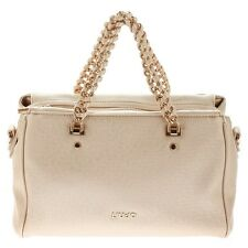 LIU JO ANNA CHAI Borsa bauletto con catena in ecopelle saffiano LIGHT GOLD A6600