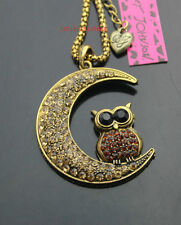 753   Betsey Johnson Crystal Antique Bronze Moon Owl Pendant Necklaces