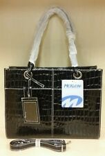 Shoulder Bag With Long Strap Patent Leather Color Black Brand Mcklein USA