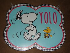 Peanuts Dancing Snoopy YOLO (You Only Live Once) Tin Metal Sign-New