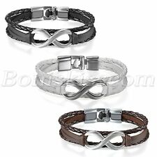 Classical Love Infinity Symbol Multilayer Leather Men Women Bracelet Bangle Cuff