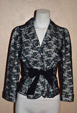 Moschino Cheap and Chic sz 6 Black Lace 3-Snap 3/4 Sleeve Self-Belt Jacket Italy