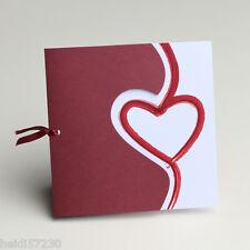Lot de 10 Faire-parts mariage coeur bordeaux avec enveloppe mariage bapteme