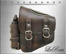La Rosa Rustic Brown Leather Zipper Style Harley Softail Saddle Bag + Gas Bottle