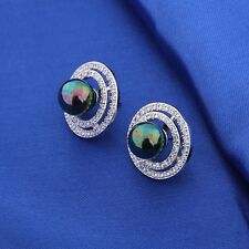 Antique black peal stud! 18K White Gold filled Sapphire&pearl earrings!