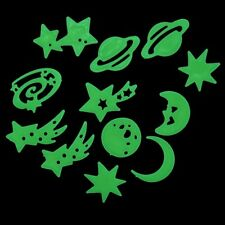 Glow In The Dark Universe Moon Star Fluorescent Stickers Ceiling Wall Decals NEW