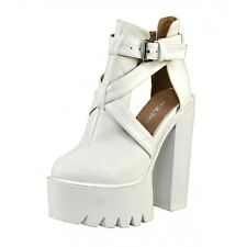 S459 - Ladies High Heeled Chunky Platform Ankle Strap Party Shoes - UK 3 - 8