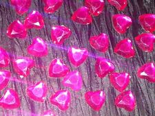 30 x 12mm Cerise Hot Pink Stick On Faceted VALENTINES DAY Rhinestone Hearts Card