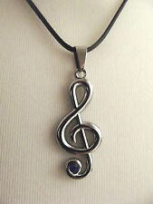 Treble Clef Necklace & Pendant with Blue Crystal: Music / jewellery gift!
