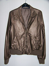 Brown Bronze Faux Leather Bomber Style Jacket Size 14 16 Atmosphere