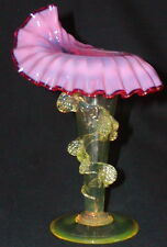 Victorian Art Glass Cranberry Opalescent Vaseline Jack in Pulpit Vase Rigaree