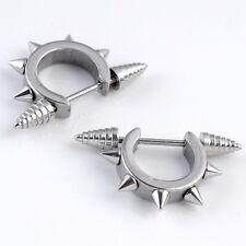Pair Punk Spike Cone Hoop Nipple Shield Ring Bar Barbell Steel Piercing Gift 18G