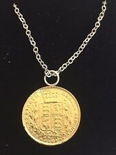 "Victorian Soverign Coin WC33 Gold Pewter On a 20"" Silver Plated  Chain Necklace"