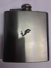 Roman Dolphin DPP Pewter Emblem on a 6oz Stainless Steel Hip Flask