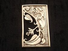 STERLING SILVER OBLONG modern brooch in an art nouveau flower and leaves design