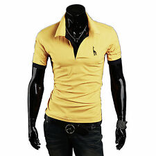 New Mens Stylish Slim Fit Cotton Short Sleeve Casual Polo Shirts T-shirt Tee Top