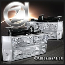 88-93 Chevy GMC C10 Silverado Chrome Headlight+Bulbs+Corner Bumper Lamp
