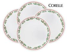 """4 Corelle WINTER HOLLY 6 3/4"""" BREAD Dessert PLATES *CHRISTMAS Holiday Red Green"""