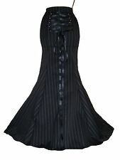 GOTHIC VICTORIAN STEAMPUNK PINSTRIPE CORSET FISHTAIL SKIRT  22 24 ANY LENGTH