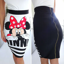 Womens Minnie Mouse Pencil Bandage Ladies High Waisted Bodycon Short Mini Skirt