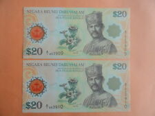 $20 Portrait Brunei Polymer Note 40th Anniversary A/1 863909, 863910 2pcs