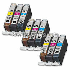 9 COLOR CLI-221 Canon CLI-221C CLI-221M CLI-221Y Ink Cartridge NEW CHIP CLI221