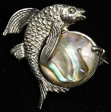 Vintage Artisan Sterling Silver Modernist Abalone Shell Flying Fish Brooch Pin