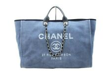 CHANEL Auth Chain Tote Bag Deauville Navy Canvas Calf Leather Excellent #7529