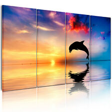Canvas Prints Home Decor Wall Art Painting Picture-Dolphin SunsetSea Unframed A+