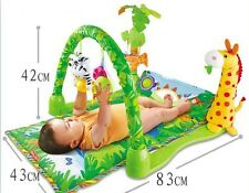 Jungle tropicale baby gym ramper & play soft activité musical lullaby mat 3 en 1