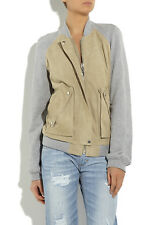 ALEXANDER WANG camel suede bomber jacket - grey cotton jersey - 4 US - blouson
