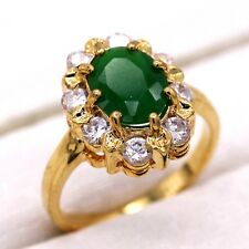 24K Gold Plated Copper Ring Emerald White Crystal CZ Gold Jewelry Ring Size 7