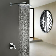 Luxury Chrome Wall Mounted Rain Shower Head Faucet Bathroom Bath Tub Mixer Tap