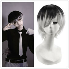 Tokyo Ghoul Sasaki Haise Cosplay Wigs Black Silver Ombre Short Hair Wigs
