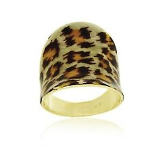 18k Gold Over 925 Silver Leopard  Print Ring Size 5