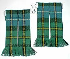 KILT HOSE SOCK FLASHES IN MACNEIL OF BARRA ANCIENT TARTAN FRINGED MADE FOR KILTS