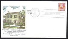 #2587 James K Polk Columbia TN Birthplace Home 1995 First Day Cover UA (LOT 580