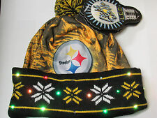 Pittsburgh Steelers LOGO LED Light up Hat Winter Pom Beanie Knit Cap Black Gold