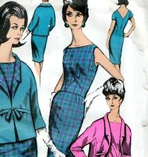 """RARE Vintage 60s DRESS & JACKET Sewing Pattern UNUSED Bust 36"""" Size 12 Evening"""